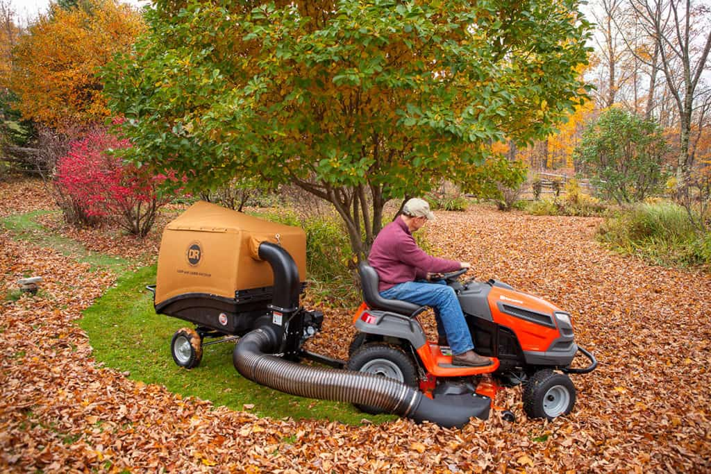 lawn vacuum in action