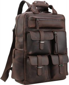 Polare Mens Handcrafted Real Leather Vintage Laptop Backpack